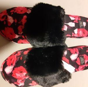 Victoria Secret Rose Floral Fur Satin Slippers